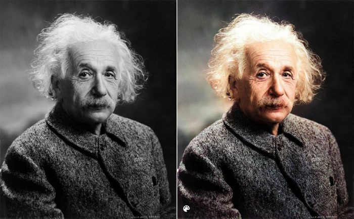 La photo colorisée d'Albert Einstein.