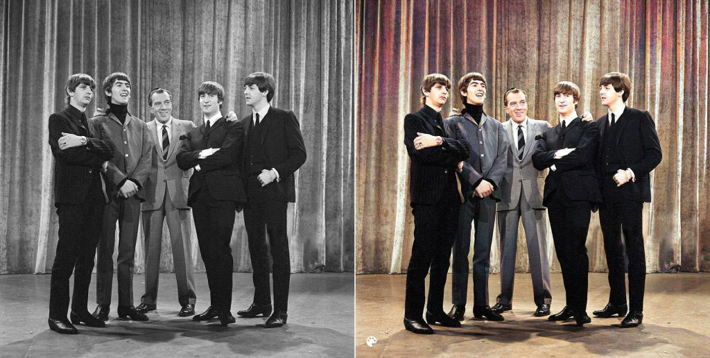 La photo colorisée des Beatles au Ed Sullivan show.