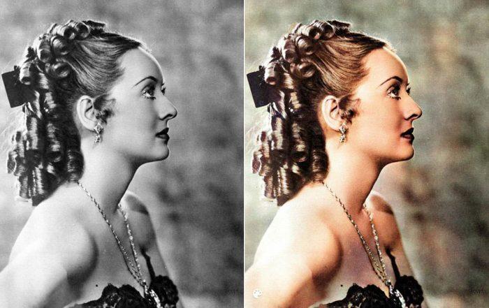 La photo colorisée de l'actrice Bette Davis.