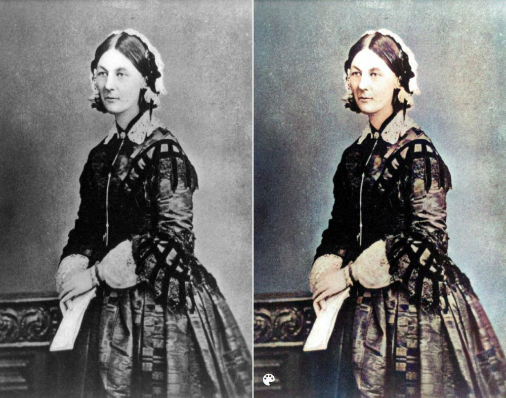 La photo colorisée de Florence Nightingale.