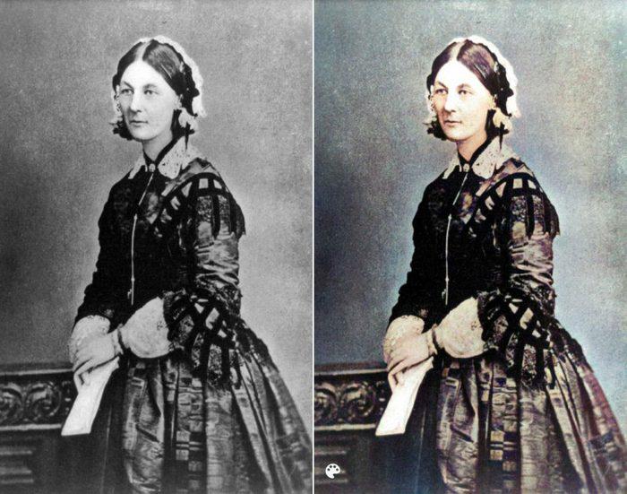 La photo colorisée de Florence Nightingale.