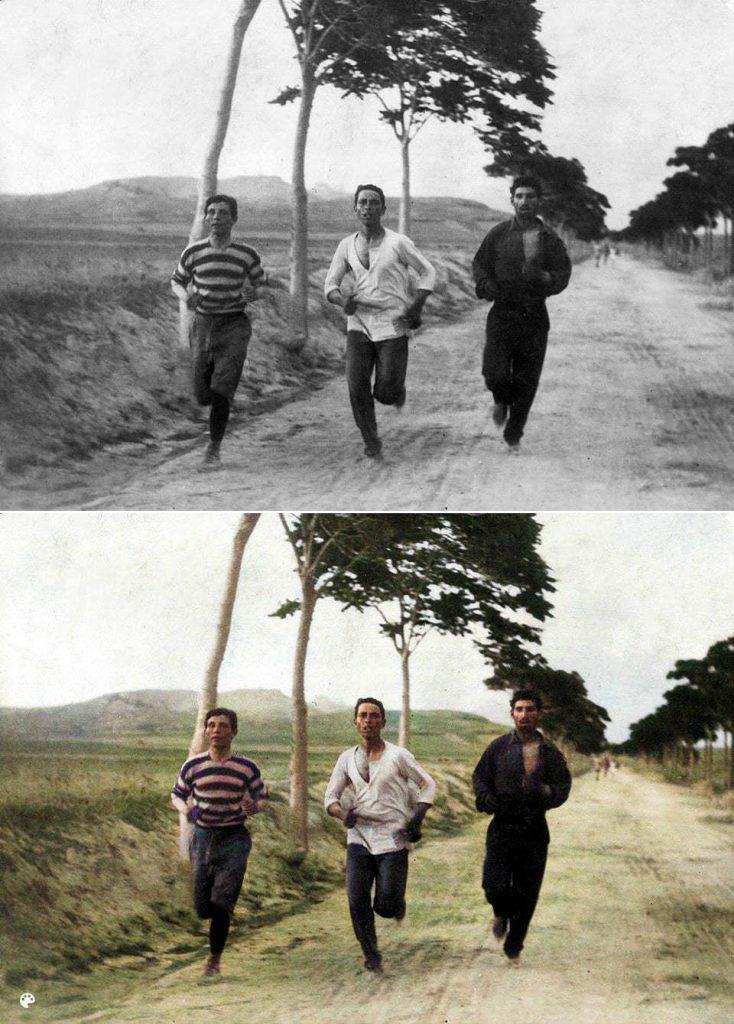 La photo colorisée du marathon des premiers Jeux olympiques.