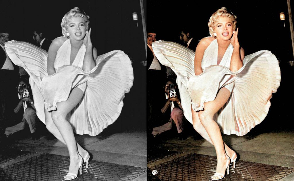 La photo colorisée de la robe blanche de Marilyn.