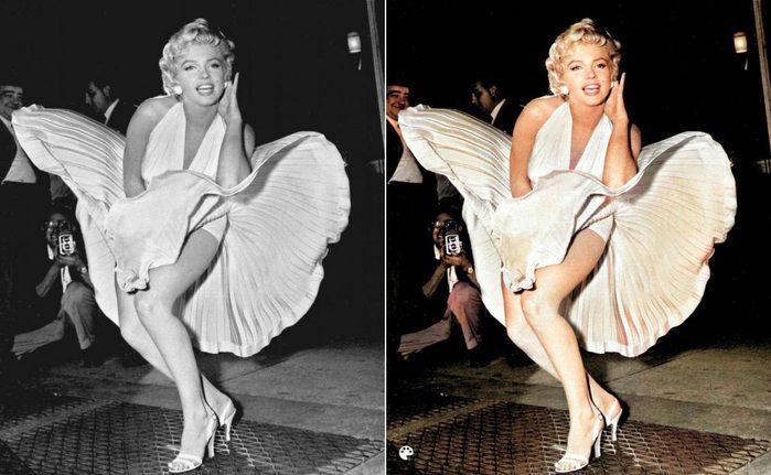 La photo colorisée de la robe blanche de Marilyn.