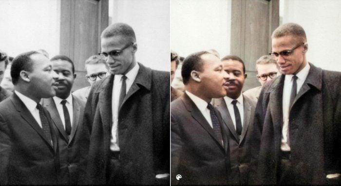 La photo colorisée de Martin Luther King Jr. et Malcolm X.