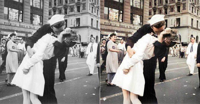 La photo colorisée du célèbre baiser de Times Square.