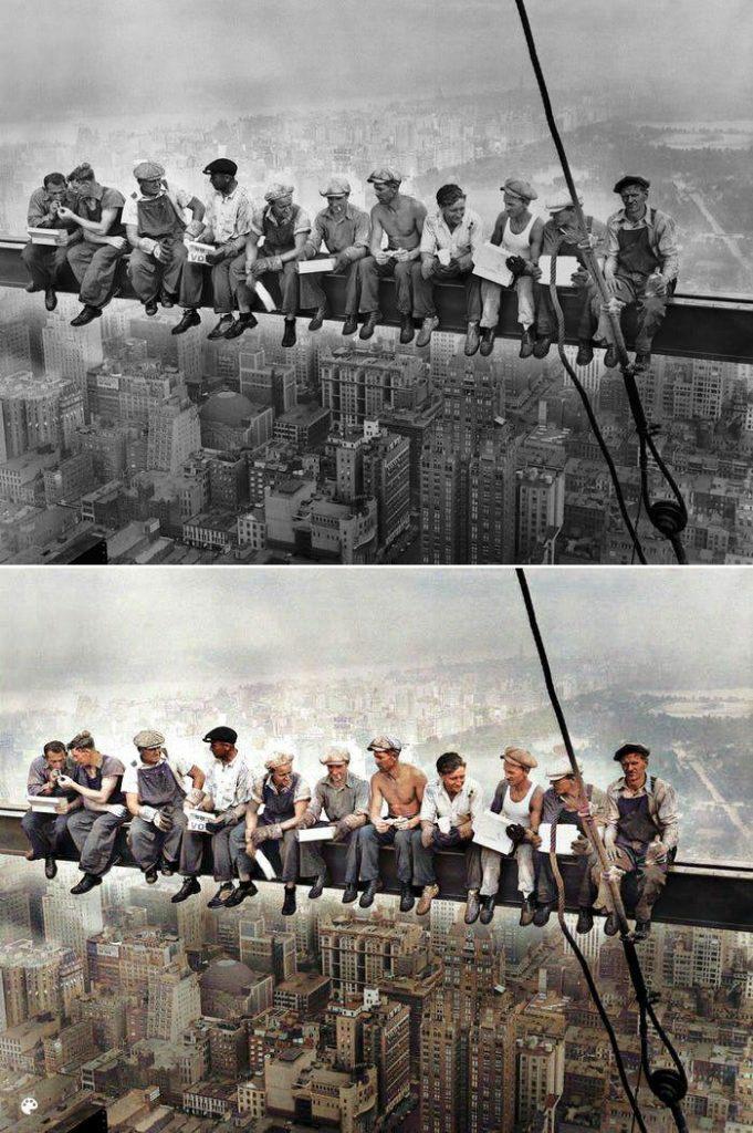 La photo colorisée du déjeuner au sommet d'un gratte-ciel de New York.