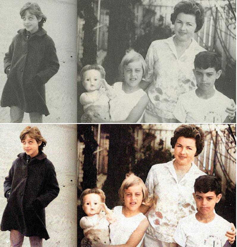 La photo colorisée d'Ellen DeGeneres et sa famille.