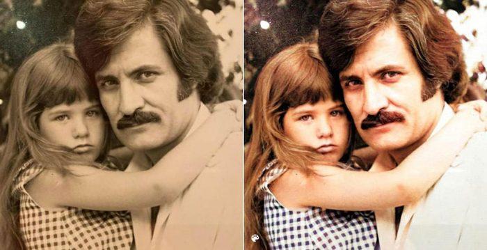 La photo colorisée de Jennifer Aniston et de son père.