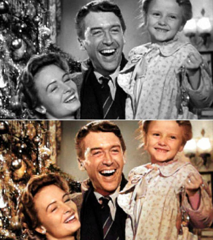 La photo colorisée d'un moment du film La vie est belle.
