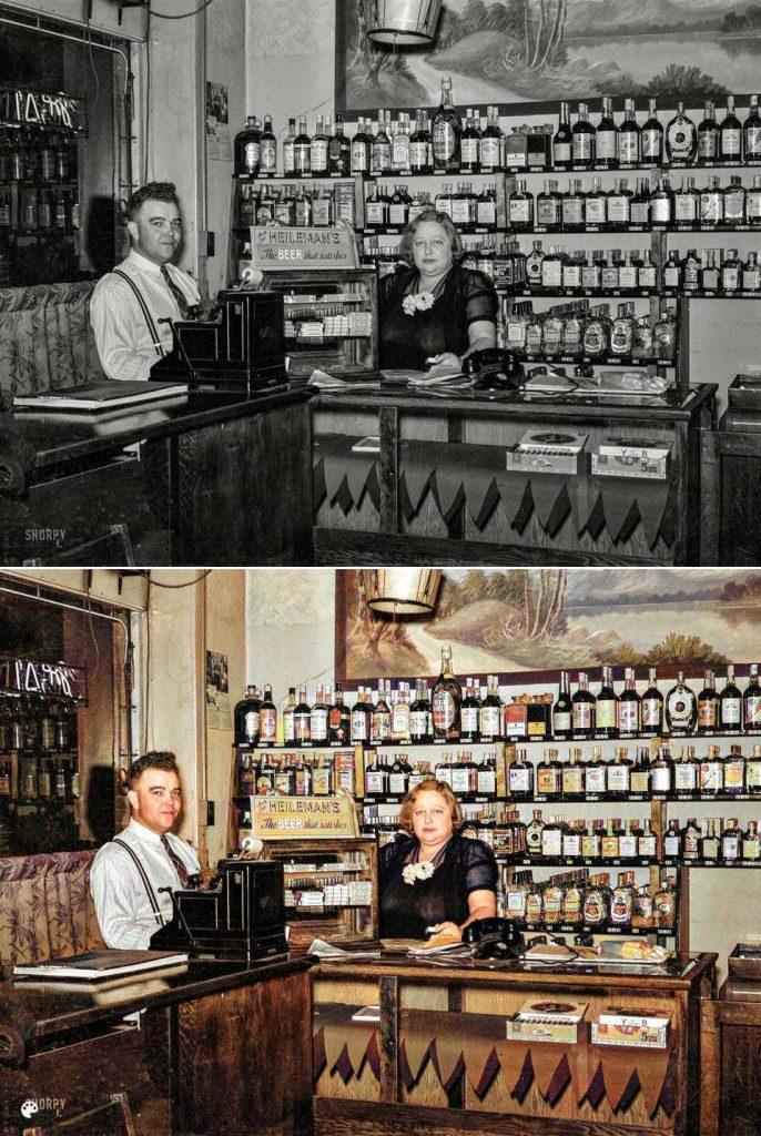 La photo colorisée d'un bar de quartier en 1860.