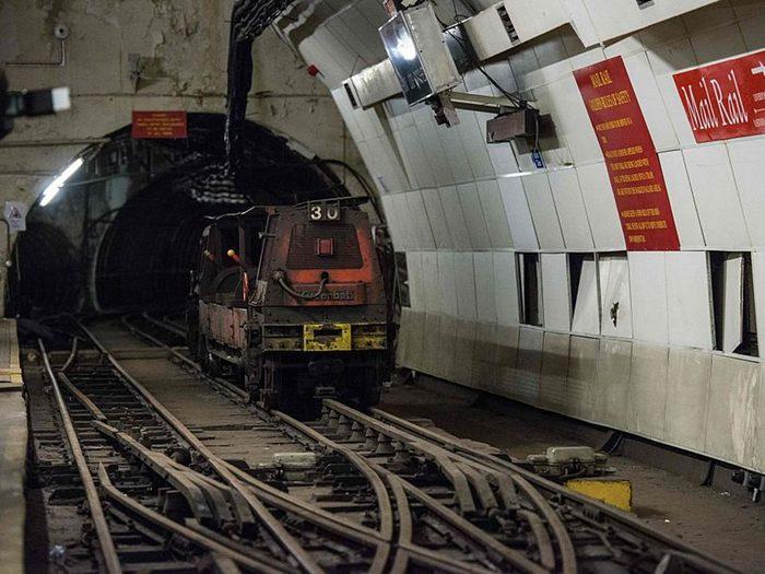La station de métro Mail Rail à Londres.
