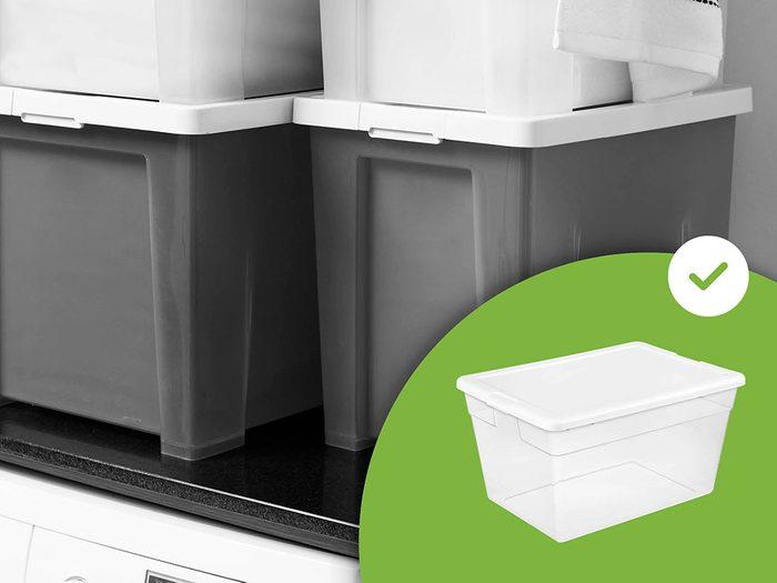 Les boîtes de rangement opaques font partie des accessoires de rangement que les experts en organisation n'achètent jamais.