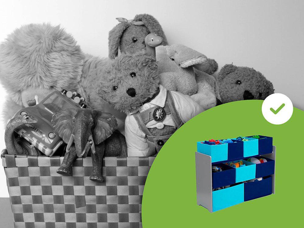Les paniers à jouets font partie des accessoires de rangement que les experts en organisation n'achètent jamais.