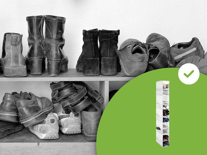 Les range-chaussures au plancher font partie des accessoires de rangement que les experts en organisation n'achètent jamais.