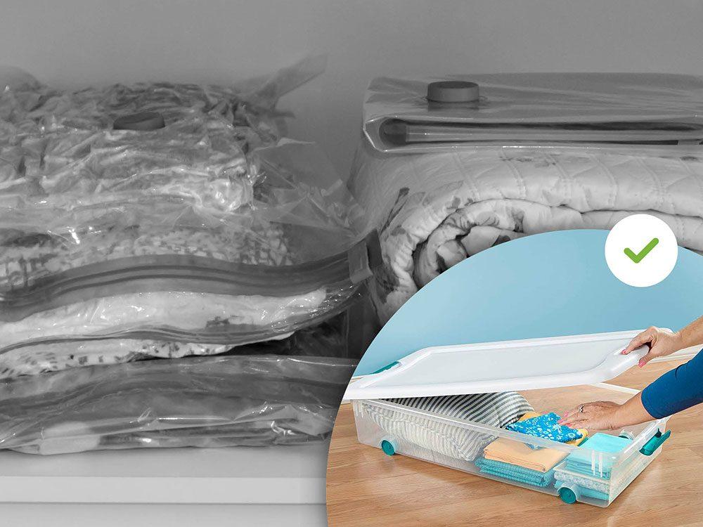 Les sacs de compression font partie des accessoires de rangement que les experts en organisation n'achètent jamais.