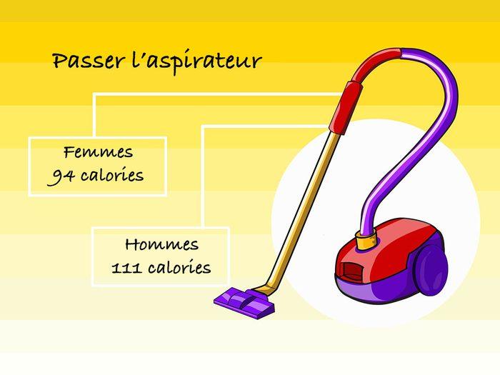Passer l'aspirateur pour brûler des calories.
