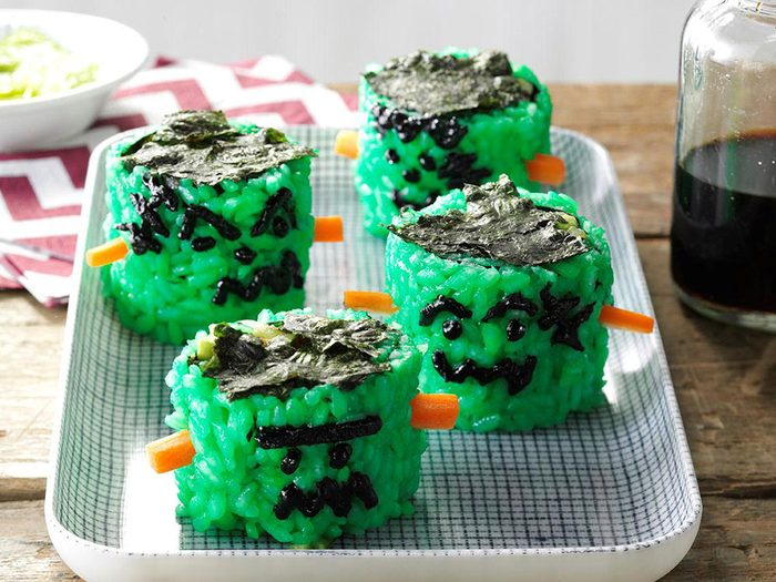 Recette de sushi à la Frankenstein.