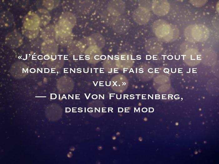 L'une des phrases de Diane Von Furstenberg fait partie des 50 citations inspirantes pour le Nouvel An 2021.