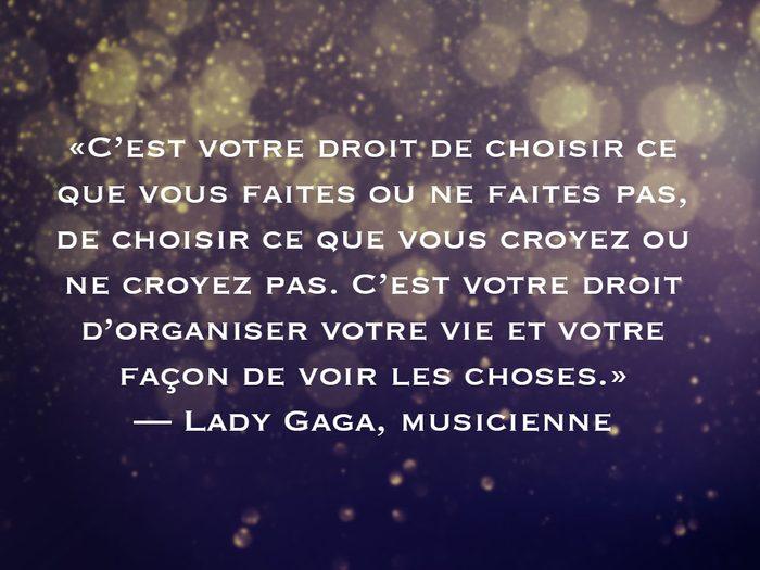 L'une des phrases de Lady Gaga fait partie des 50 citations inspirantes pour le Nouvel An 2021.