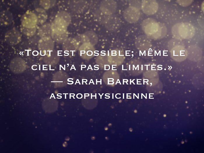 L'une des phrases de Sarah Barker fait partie des 50 citations inspirantes pour le Nouvel An 2021.