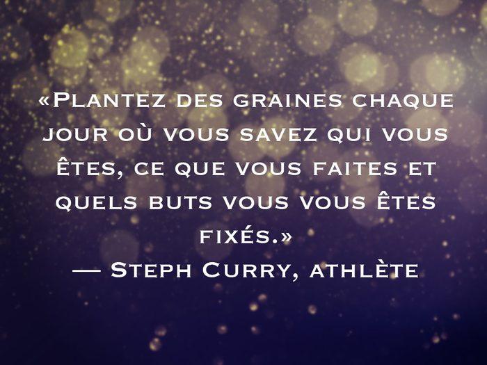 L'une des phrases de Steph Curry fait partie des 50 citations inspirantes pour le Nouvel An 2021.