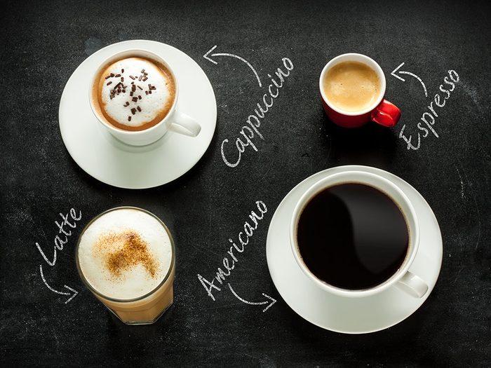 Les différents types de café.