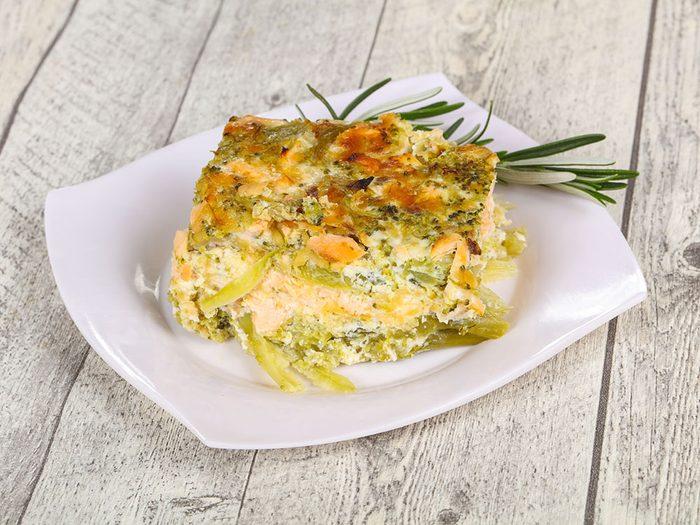 Une recette minceur de lasagne de courgettes aux fruits de mer.