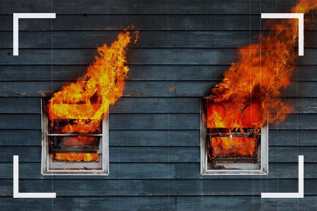 Des caméras de surveillance ont pu capturer des images d'un incendie de quartier.