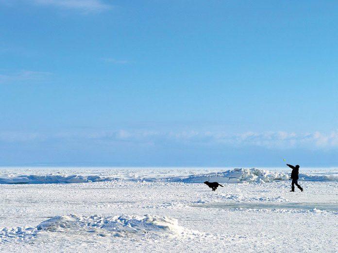 La beauté de l'hiver canadien à travers cette image des formations de glace à Crystal Beach.
