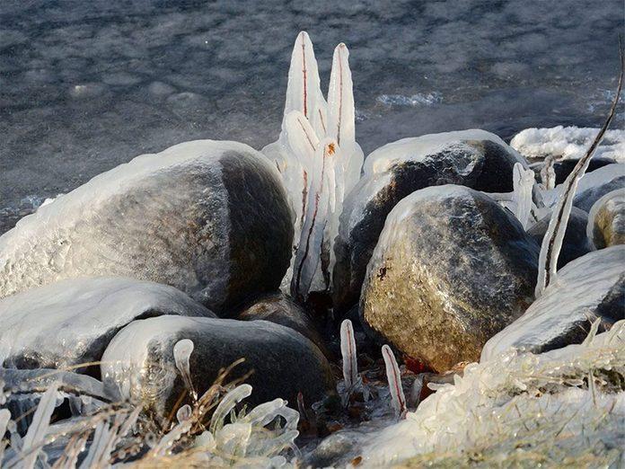 La beauté de l'hiver canadien à travers cette image des rives du lac Memphrémagog, à Magog.