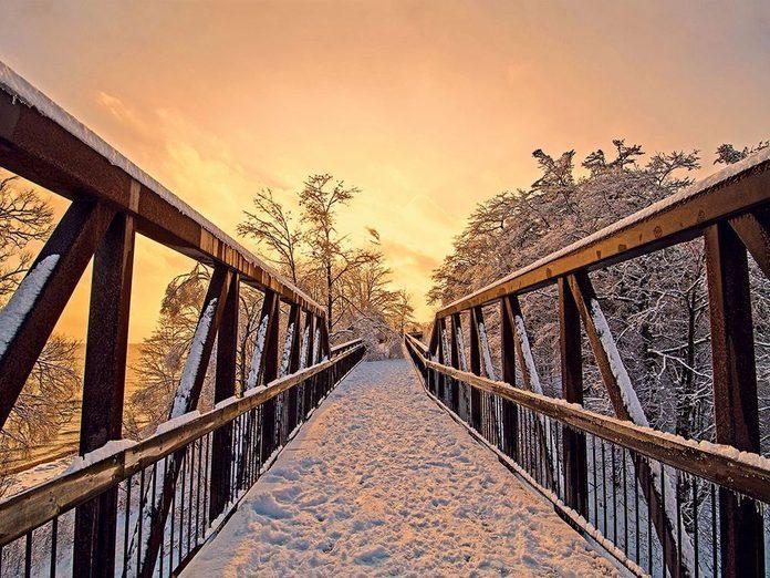 La beauté de l'hiver canadien à travers cette image à à Petticoat Creek, en Ontario.