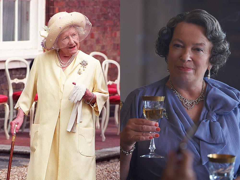La reine mère dans la série The Crown.