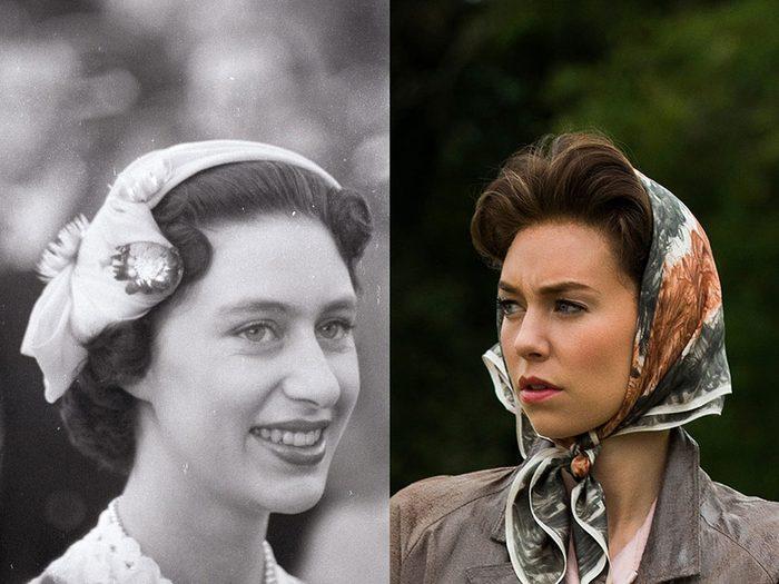 La princesse Margaret Rose d'York en jeune femme dans la série The Crown.