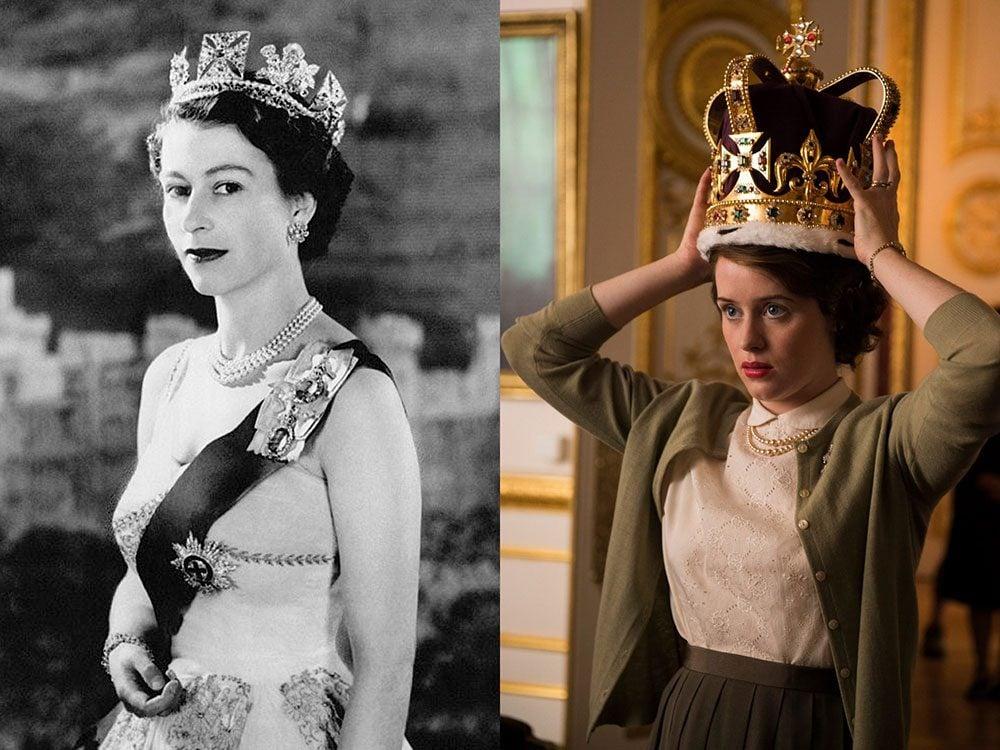 La reine Elizabeth II en jeune femme dans la série The Crown.