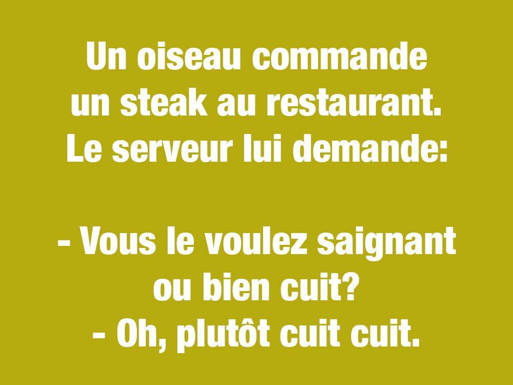 Blagues courtes et drôles: un oiseau commande un steak...