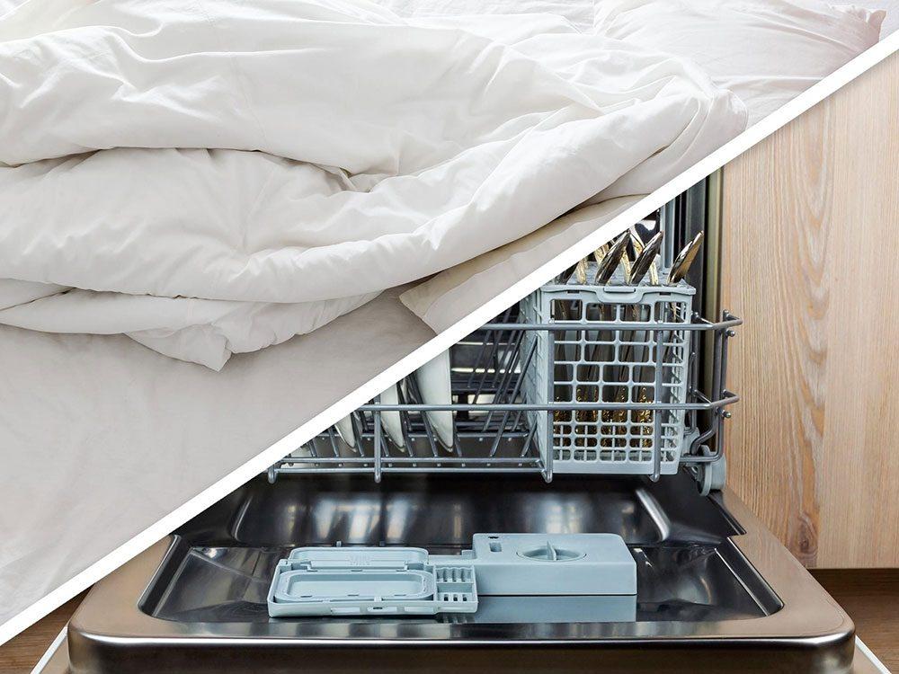Vous serez surpris d'apprendre que vous pouvez créer un espace de rangement sous le lit au lave-vaisselle!