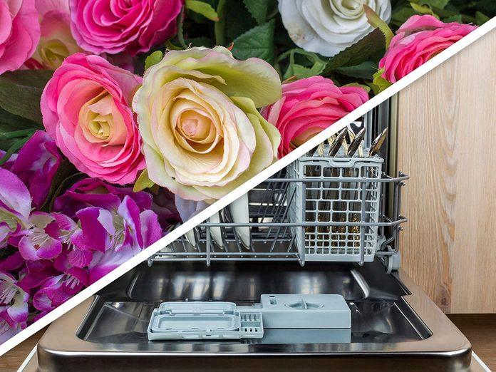 Vous serez surpris d'apprendre que vous pouvez nettoyer les fausses fleurs au lave-vaisselle!
