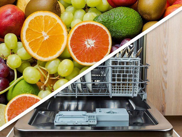 Vous serez surpris d'apprendre que vous pouvez rincer les fruits et les légumes au lave-vaisselle!