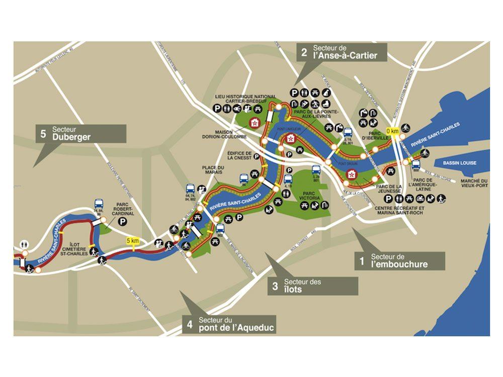 Le corridor cyclable de la Rivière-Saint-Charles à Québec est l'une des pistes cyclables à faire vers Montréal.
