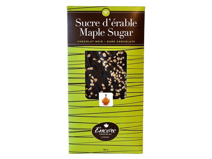 Du chocolat 70% cacao pour le temps des sucres.