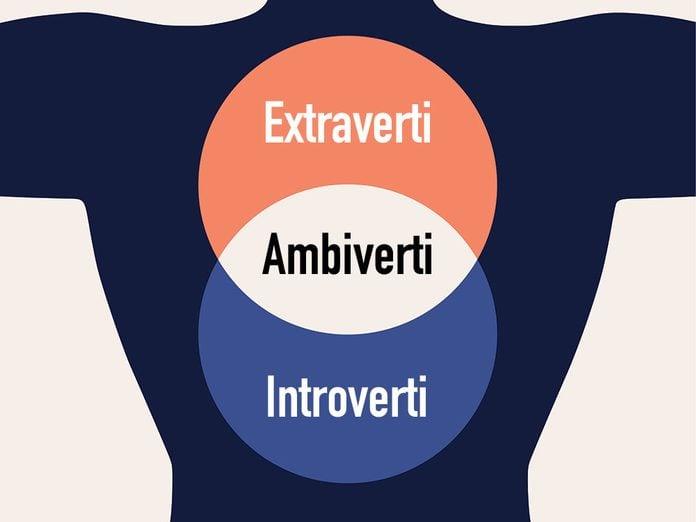 Introvertis, extravertis et ambivertis.