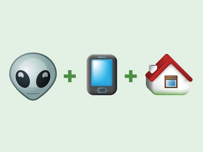 «E.T. téléphone maison» en émojis.