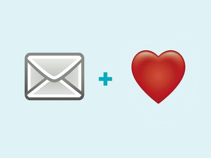 Une lettre d'amour en émojis.