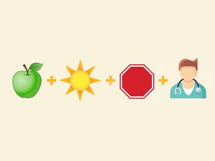 «Une pomme par jour éloigne le médecin pour toujours» en émojis.