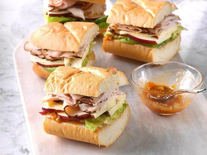Recette de sandwich au havarti et à la dinde.