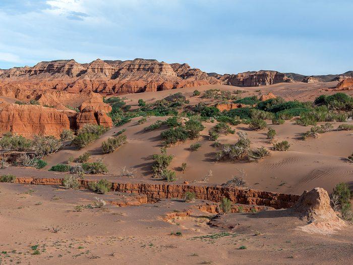À travers le désert de Gobi en Mongolie.