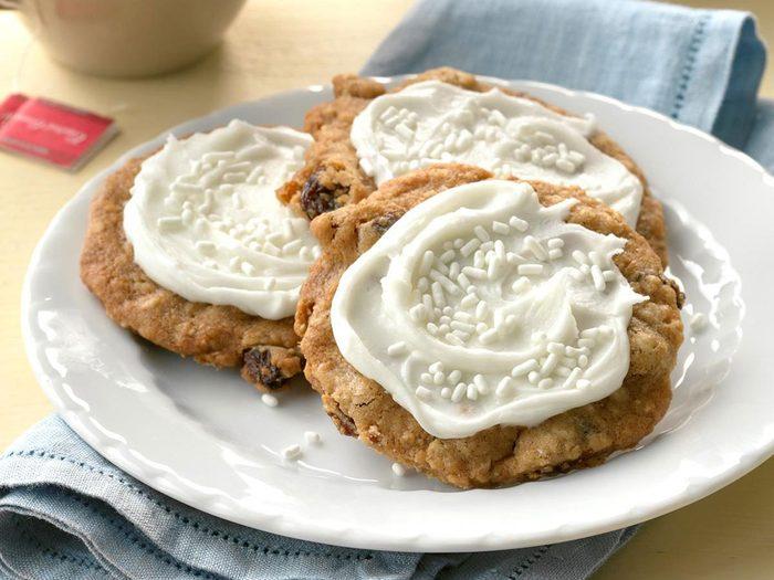 Recette de biscuits à l'avoine glacés.
