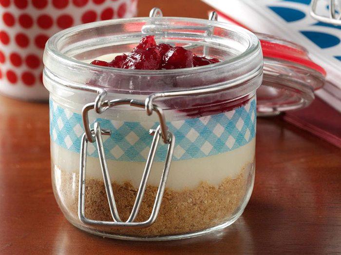 Recette en pot de tarte aux canneberges et oranges.