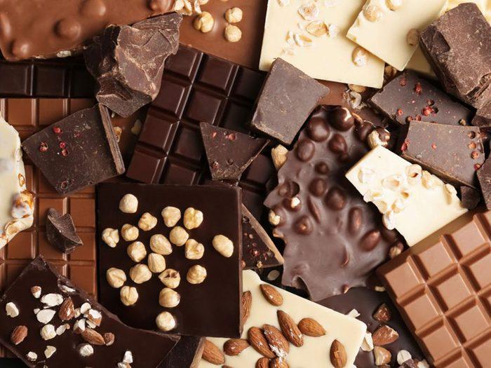 Le chocolat noir est à éviter dans le cadre d'un régime keto.
